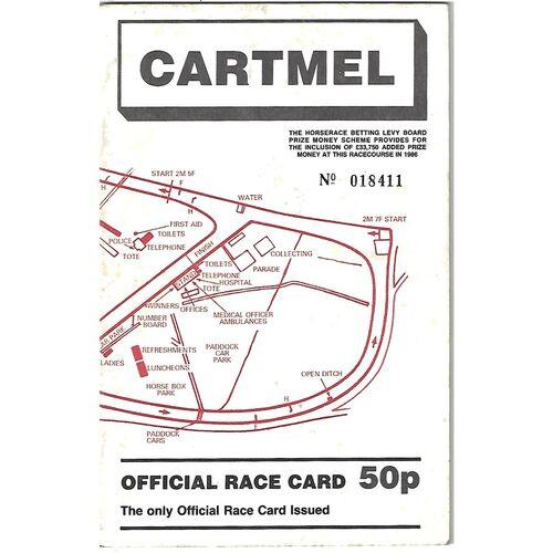 1986 Cartmel Summer Bank Holiday Meeting (25/08/1986) Horse Racing Racecard