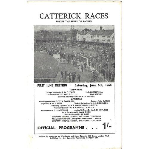 1964 Catterick First June Meeting (06/06/1964) Horse Racing Racecard