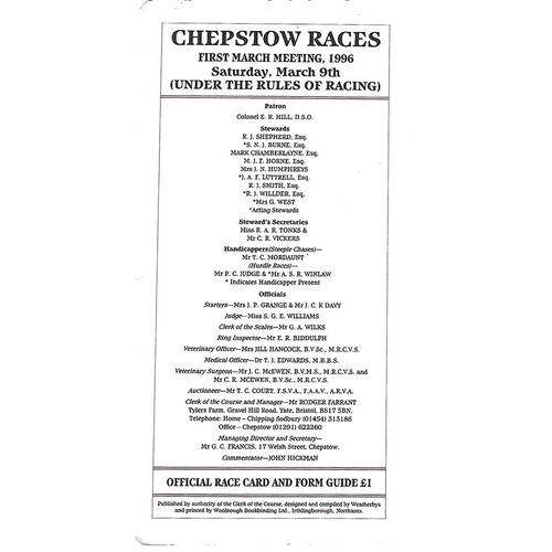 Chepstow Horse Racing Racecards/Programmes