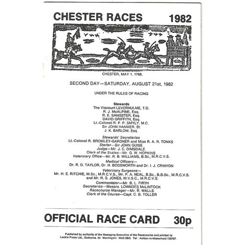 1982 Chester Meeting (21/08/1982) Horse Racing Racecard