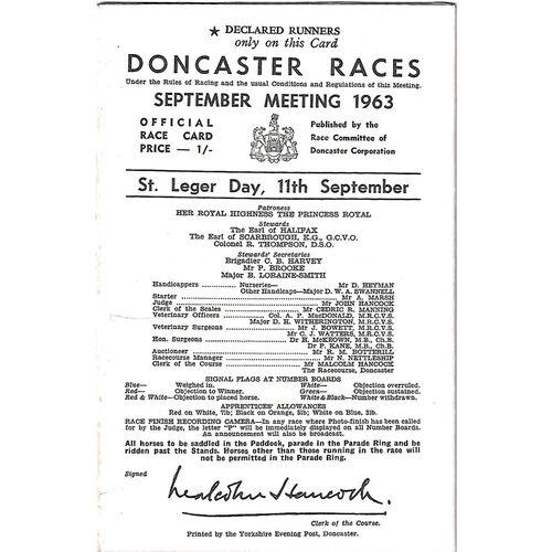 1963 Doncaster St. Leger Meeting (11/09/1963) Horse Racing Racecard