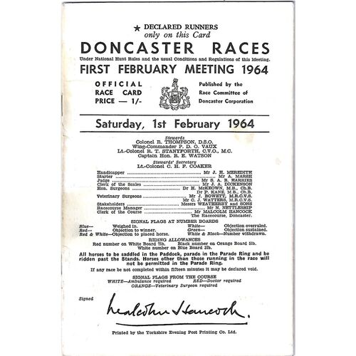 1964 Doncaster First February Meeting (01/02/1964) Horse Racing Racecard