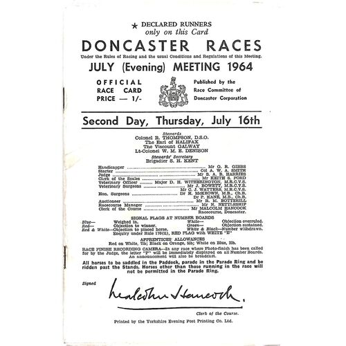 1964 Doncaster July Evening Meeting (16/07/1964) Horse Racing Racecard