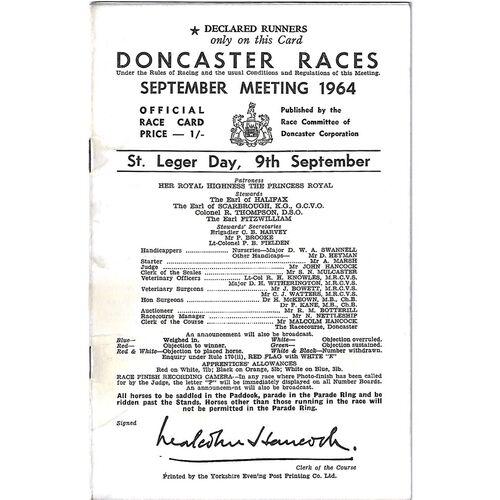 1964 Doncaster St. Leger Meeting (09/09/1964) Horse Racing Racecard