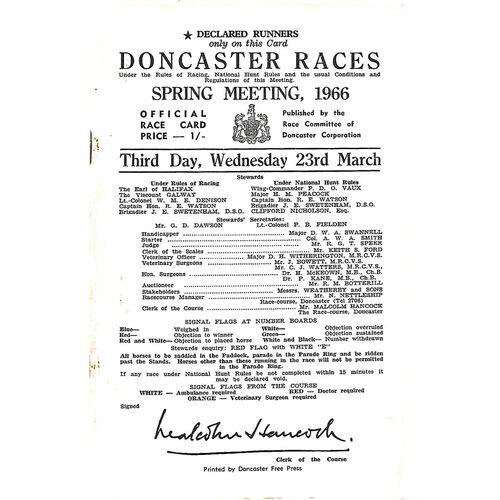 1966 Doncaster Spring Meeting (23/03/1966) Horse Racing Racecard