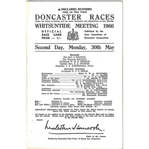1966 Doncaster Whitsunday Meeting (30/05/1966) Horse Racing Racecard