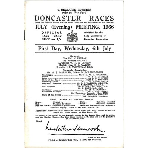1966 Doncaster July Evening Meeting (06/07/1966) Horse Racing Racecard