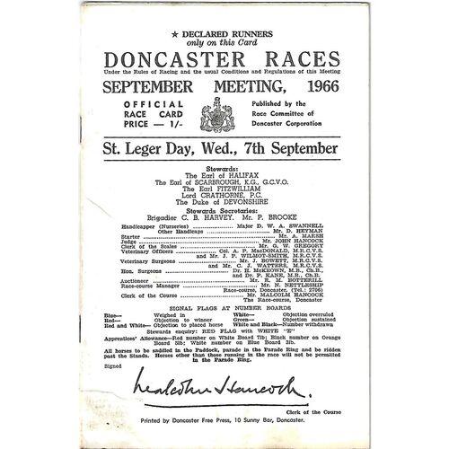 1966 Doncaster St. Leger Meeting (07/09/1966) Horse Racing Racecard