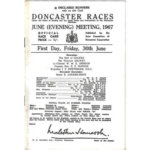 1967 Doncaster June Evening Meeting (30/06/1967) Horse Racing Racecard