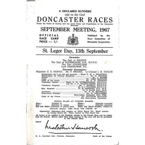1967 Doncaster St. Leger Meeting (13/09/1967) Horse Racing Racecard