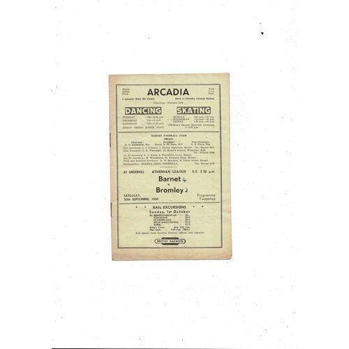 1950/51 Barnet v Bromley Football Programme