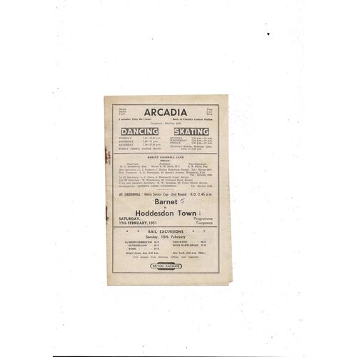 1950/51 Barnet v Hoddesdon Town Herts Senior Cup Football Programme