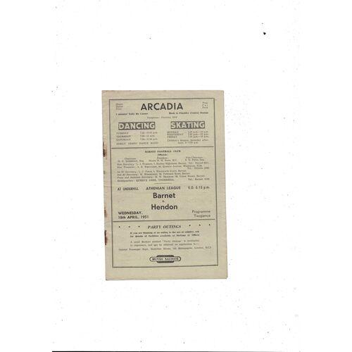 1950/51 Barnet v Hendon Football Programme