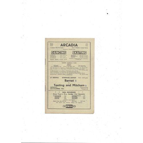 1950/51 Barnet v Tooting & Mitcham Football Programme