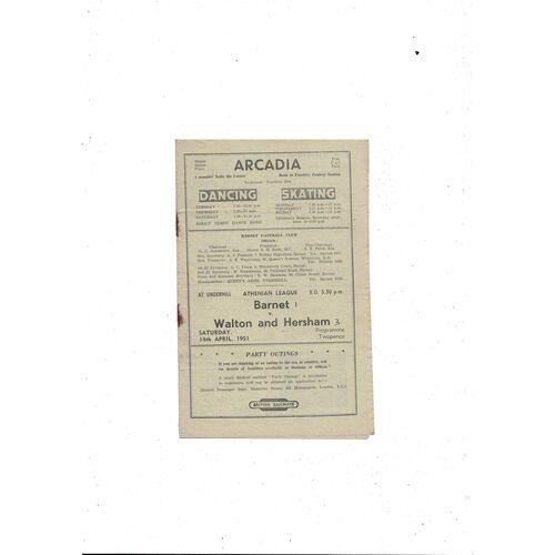 1950/51 Barnet v Walton & Hersham Football Programme