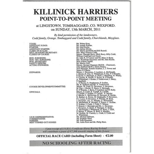 2011 Lingstown Killinick Harriers Point To Point Meeting (13/03/2011) Horse Racing Racecard