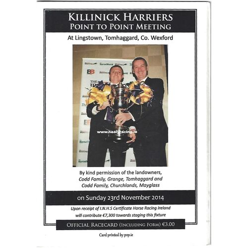 2014 Lingstown Killinick Harriers Point To Point Meeting (23/11/2014) Horse Racing Racecard