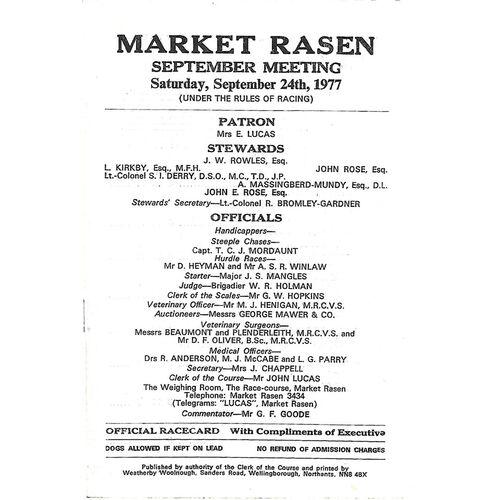 1977 Market Rasen September Meeting (24/09/1977) Horse Racing Racecard