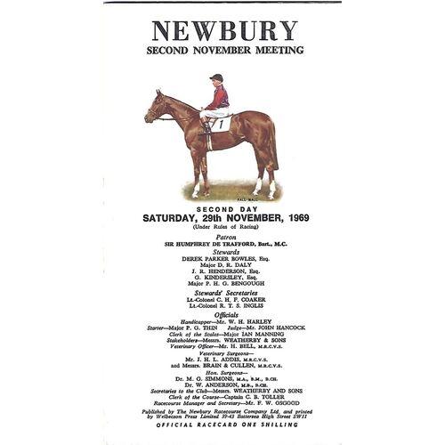 1969 Newbury Hennessey Gold Cup Meeting (29/11/1969) Horse Racing Racecard