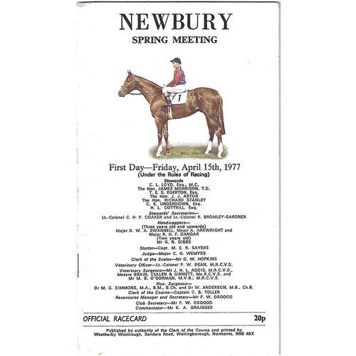 1977 Newbury Spring Meeting (15/04/1977) Horse Racing Racecard