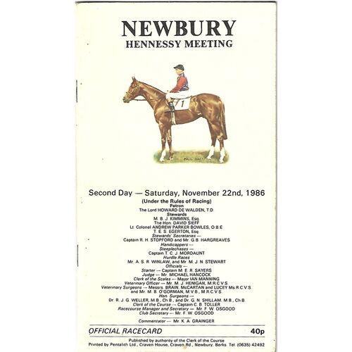 1986 Newbury Hennessey Gold Cup Meeting (22/11/1986) Horse Racing Racecard