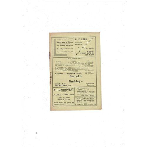 1951/52 Barnet v Finchley Football Programme
