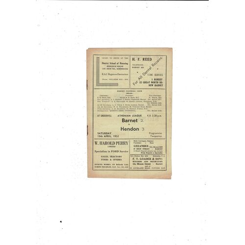 1951/52 Barnet v Hendon Football Programme