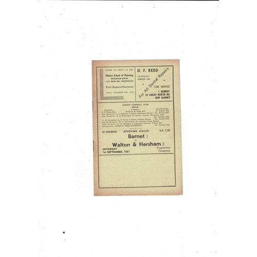 1951/52 Barnet v Walton & Hersham Football Programme