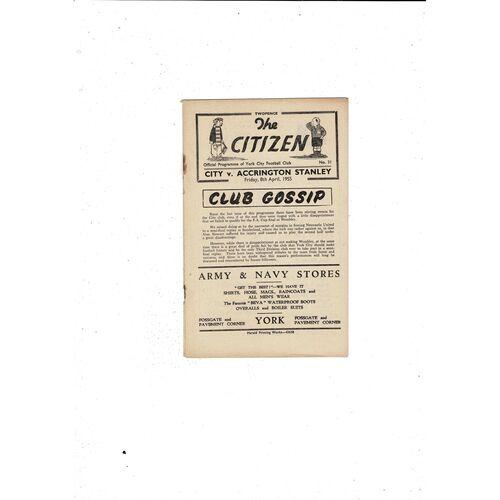 1954/55 York City v Accrington Stanley Football Programme