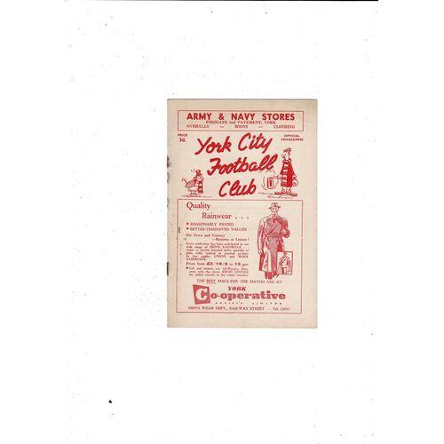 1956/57 York City v Accrington Stanley Football Programme
