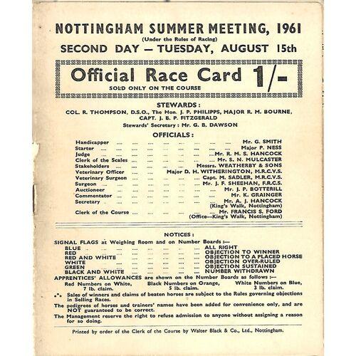 1961 Nottingham Summer Meeting (15/08/1961) Horse Racing Racecard