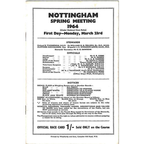 1964 Nottingham Spring Meeting (23/03/1964) Horse Racing Racecard