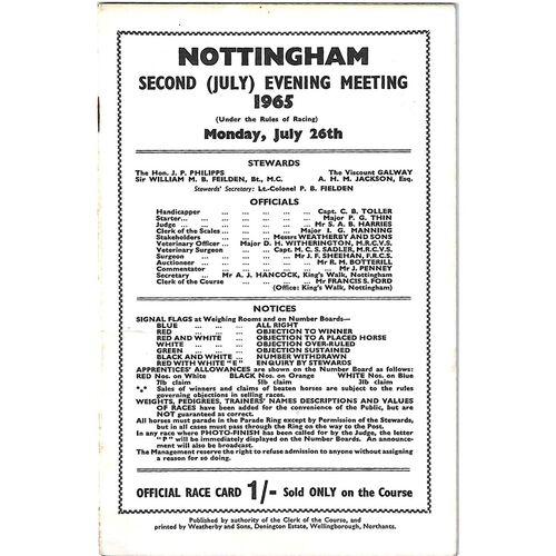 1965 Nottingham Second July Evening Meeting (26/07/1965) Horse Racing Racecard