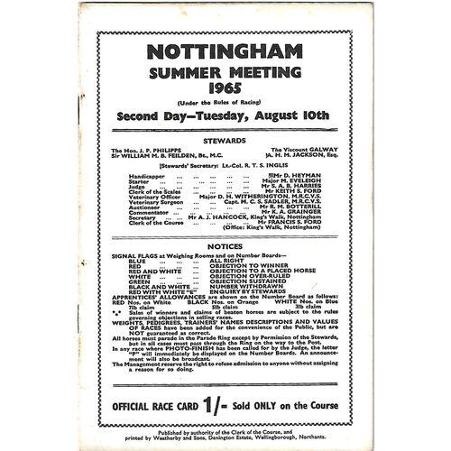 1965 Nottingham Summer Meeting (10/08/1965) Horse Racing Racecard