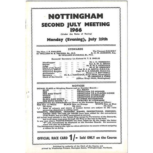 1966 Nottingham Second July Evening Meeting (25/07/1966) Horse Racing Racecard