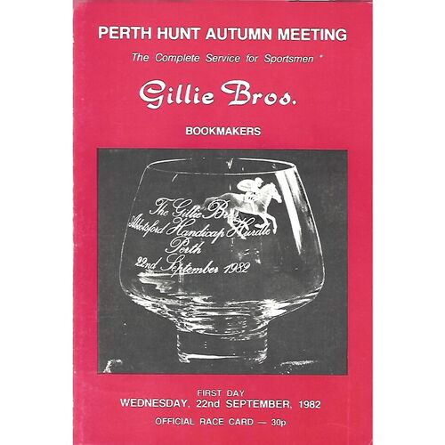 1982 Perth Race Meeting (22/09/1982) Horse Racing Racecard