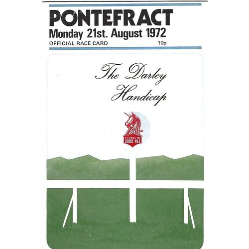 1972 Pontefract The Darley Handicap Meeting (21/08/1972) Horse Racing Racecard