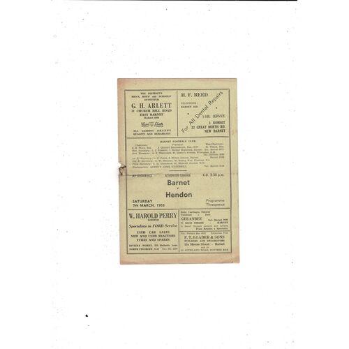 1952/53 Barnet v Hendon Football Programme