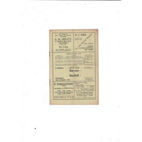 1952/53 Barnet v Redhill Football Programme