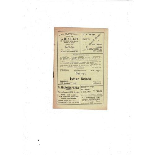 1952/53 Barnet v Sutton United Football Programme