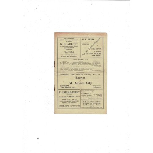 1952/53 Barnet v St Albans City Herts Senior Cup Semi Final Football Programme
