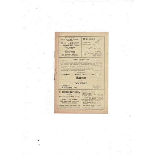 1952/53 Barnet v Southall Football Programme