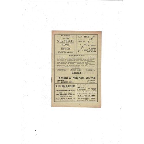 1952/53 Barnet v Tooting & Mitcham United Football Programme