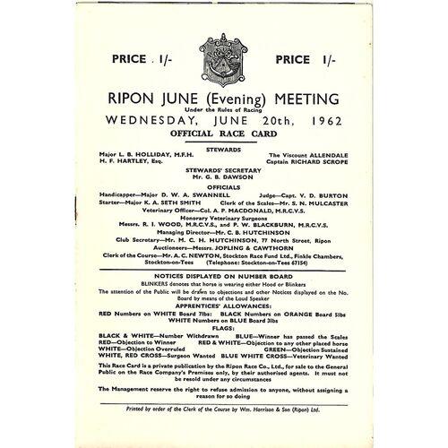1962 Ripon June Evening Meeting (20/06/1962) Horse Racing Racecard