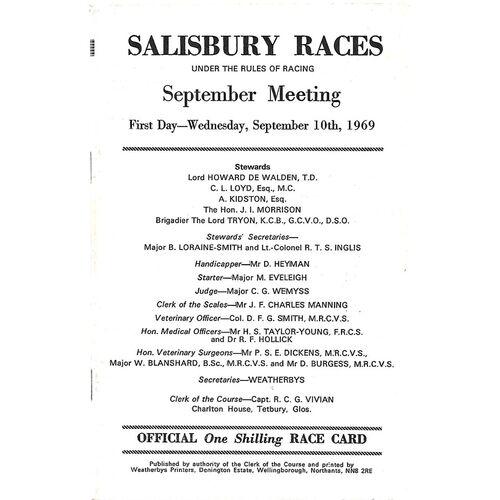 1969 Salisbury September Meeting (10/09/1969) Horse Racing Racecard