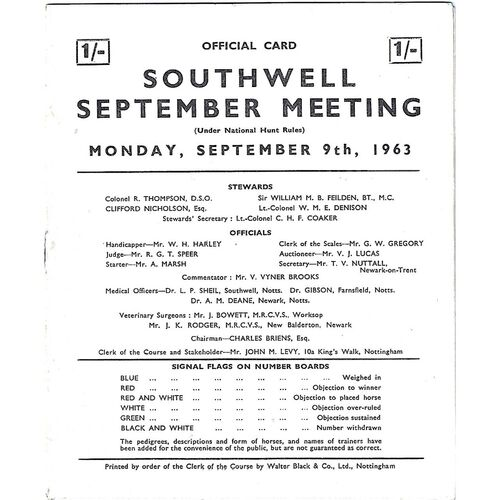 1963 Southwell September Meeting (09/09/1963) Horse Racing Racecard