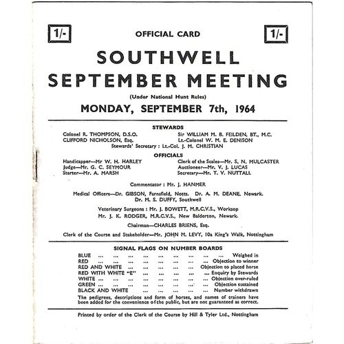 1964 Southwell September Meeting (07/09/1964) Horse Racing Racecard