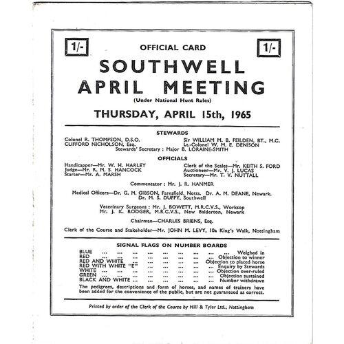 1965 Southwell April Meeting (15/04/1965) Horse Racing Racecard