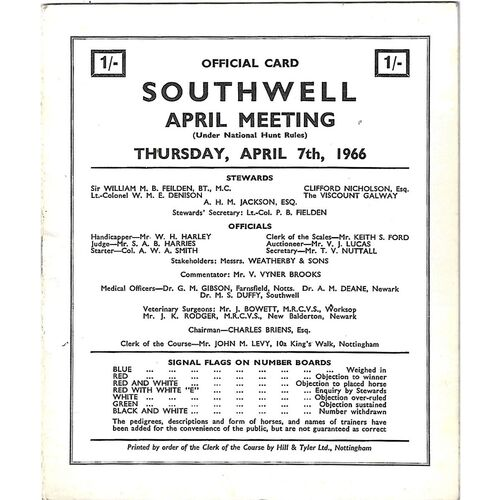 1966 Southwell April Meeting (07/04/1966) Horse Racing Racecard