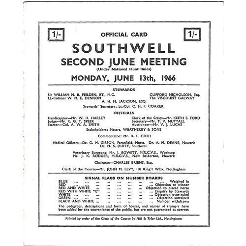 1966 Southwell Second June Meeting (13/06/1966) Horse Racing Racecard